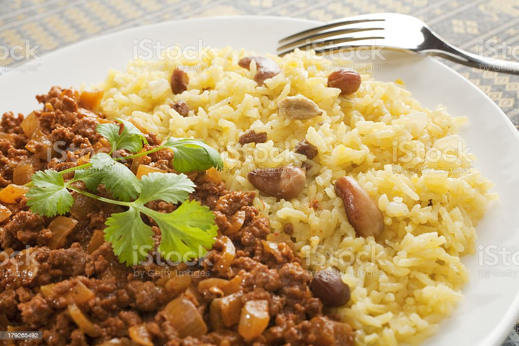 Indian Meal Food Cuisine Keema Beef Curry Basmati Rice Plated royalty-free stock photo
