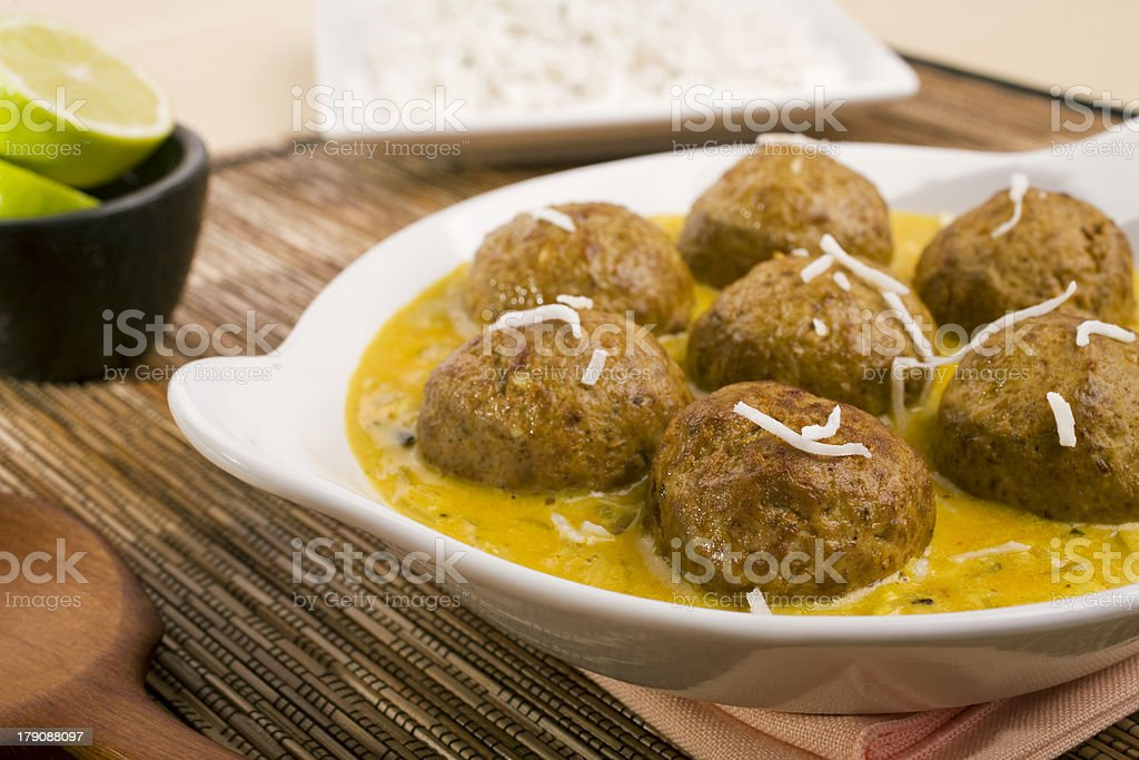 Indian Meal Food Cuisine Meat Meatball or Kofta Curry royalty-free stock photo