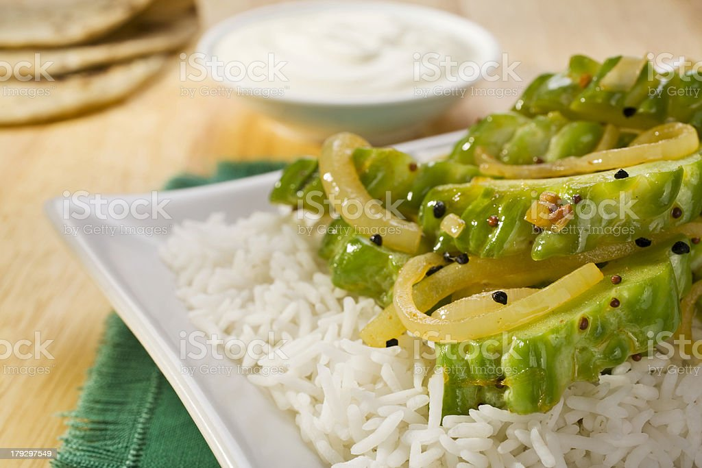 Indian Meal Food Cuisine Vegetarian Curry Stir Fried Bitter Melon stock photo