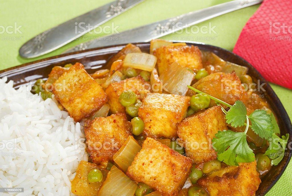 Indian Meal Food Cuisine Vegetarian Panir and Peas Curry stock photo