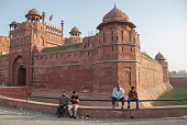 Indian men take rest near The Red Fort, Delhi, India.