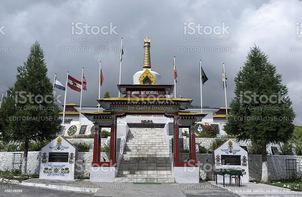 Indian military war memorial, Tawang, Arunachal Pradesh, India. stock photo