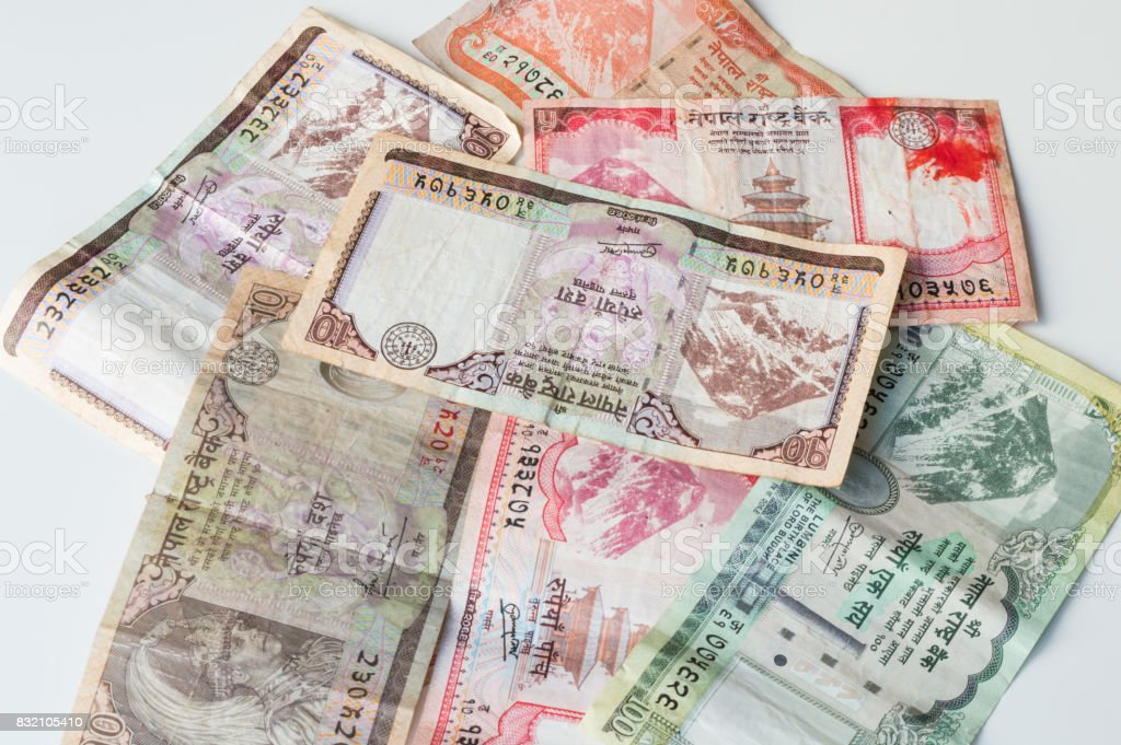 Indian Money - Nepal Rastra Bank Currencies - Nepal Rupees Notes stock photo