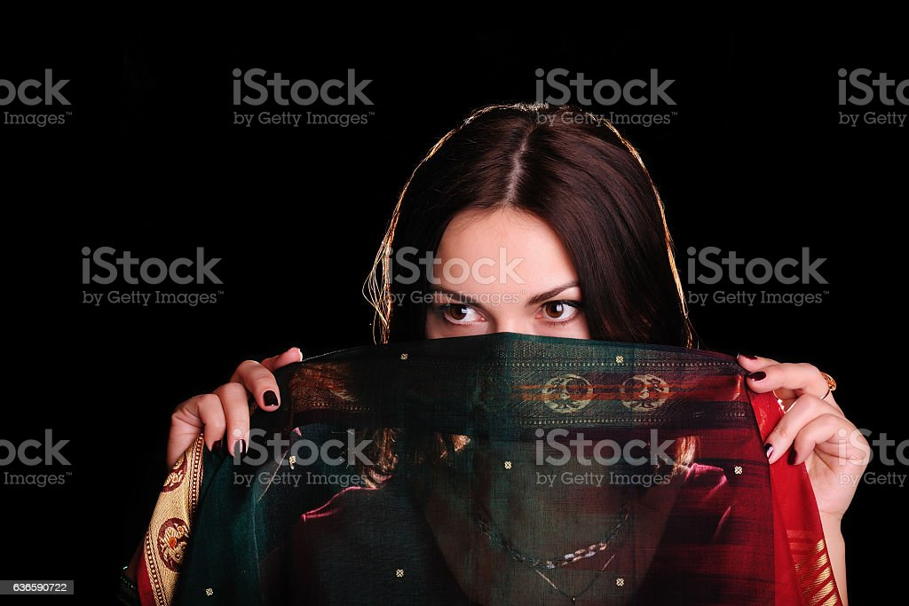 Indian mood. Beautiful young woman with a veil. stock photo
