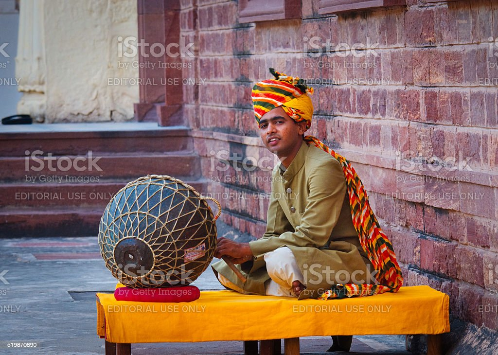 Indian musician  playing musical instruments stock photo