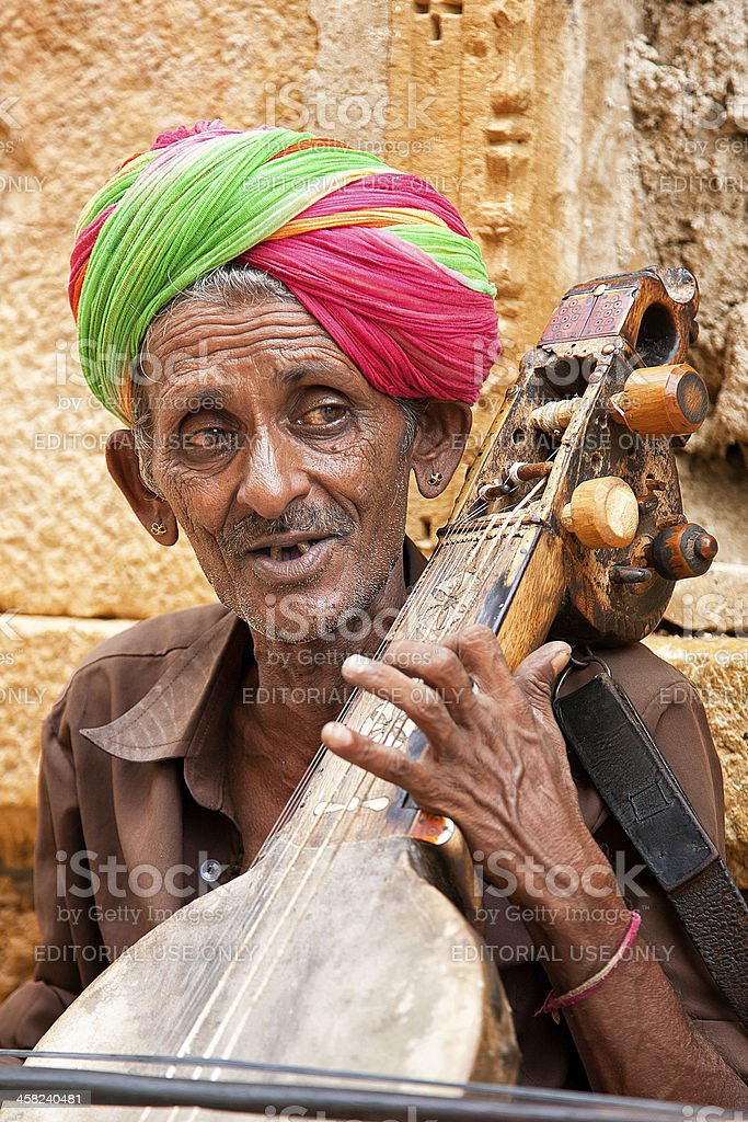 Indian musician playing sitar royalty-free stock photo