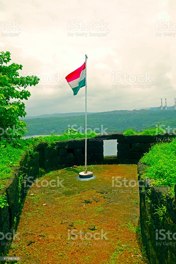 indian national tricolour flag at Gopalgad fort, Guhagar. india stock photo