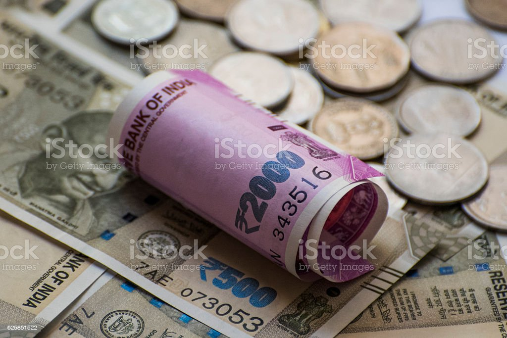 Indian new 2000 and 500 Rs Currency Note stock photo