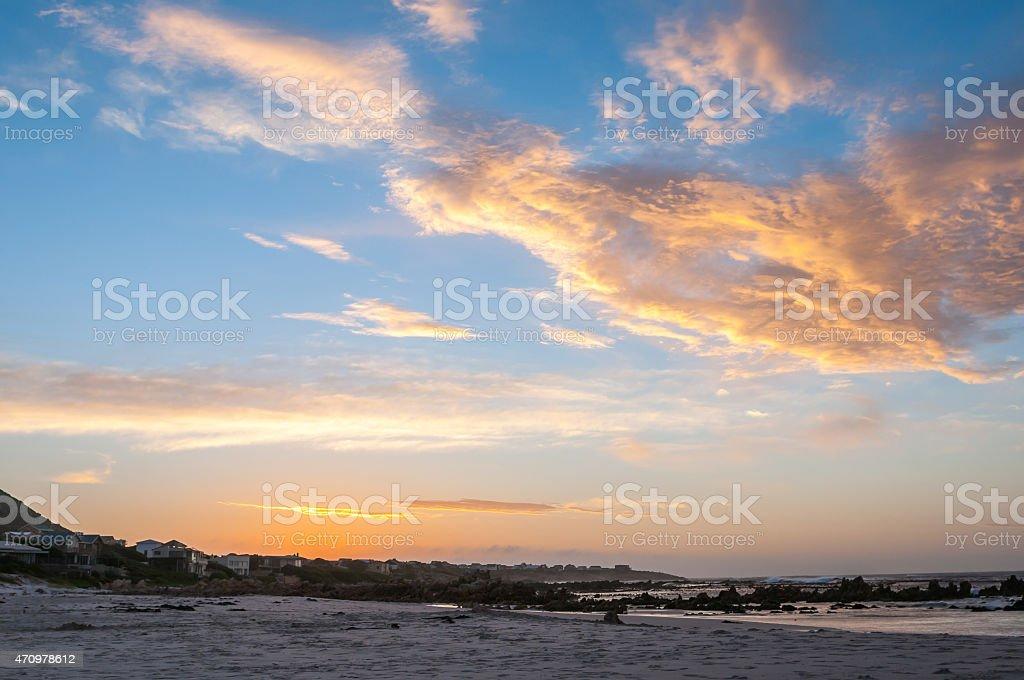 Indian Ocean at Pringle Bay at sunset stock photo