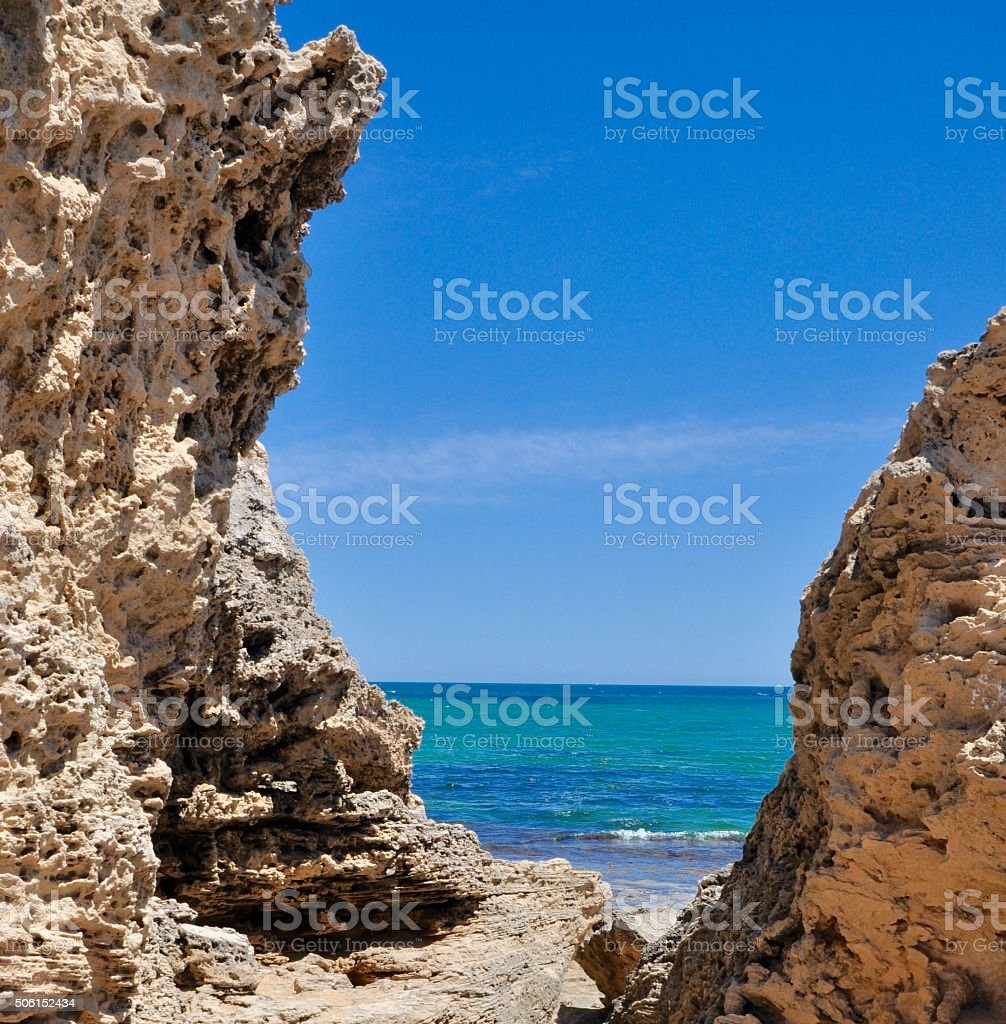 Indian Ocean Between the Rocks stock photo