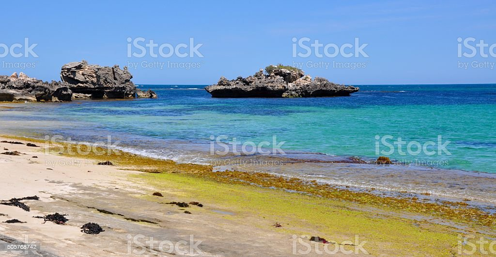 Indian Ocean Blue and Beach Kelp stock photo