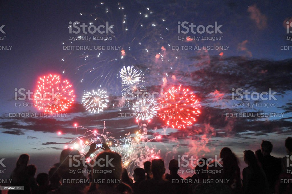 Indian Ocean Fireworks stock photo