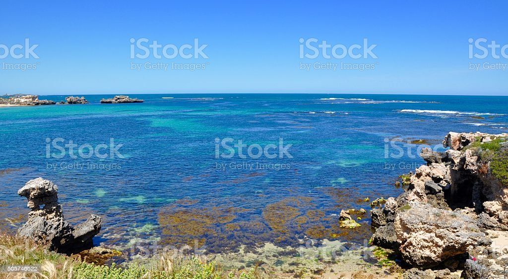 Indian Ocean Seascape with Shallow Reef stock photo