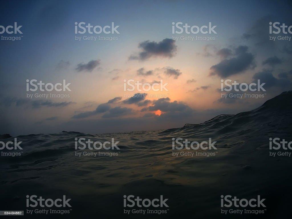 Indian ocean sunset stock photo
