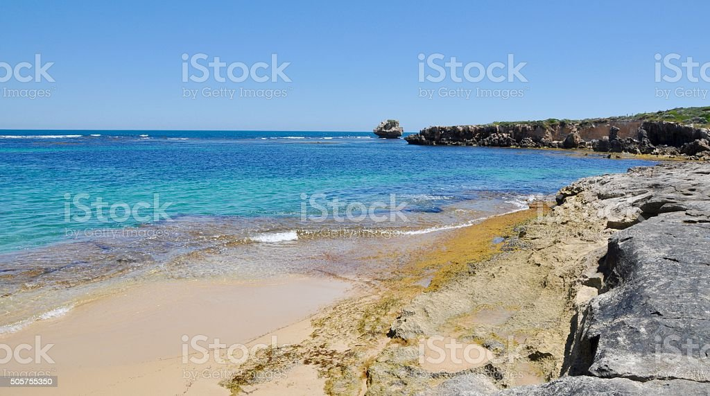 Indian Ocean: Turquoise Water and Limestone stock photo