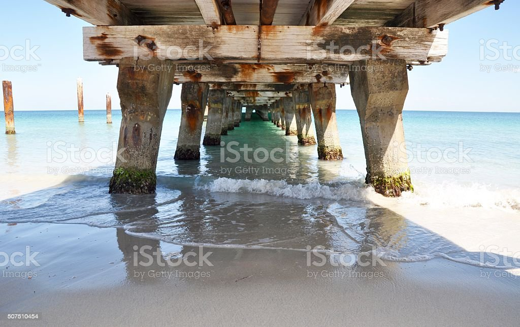 Indian Ocean View: Under the Jetty stock photo
