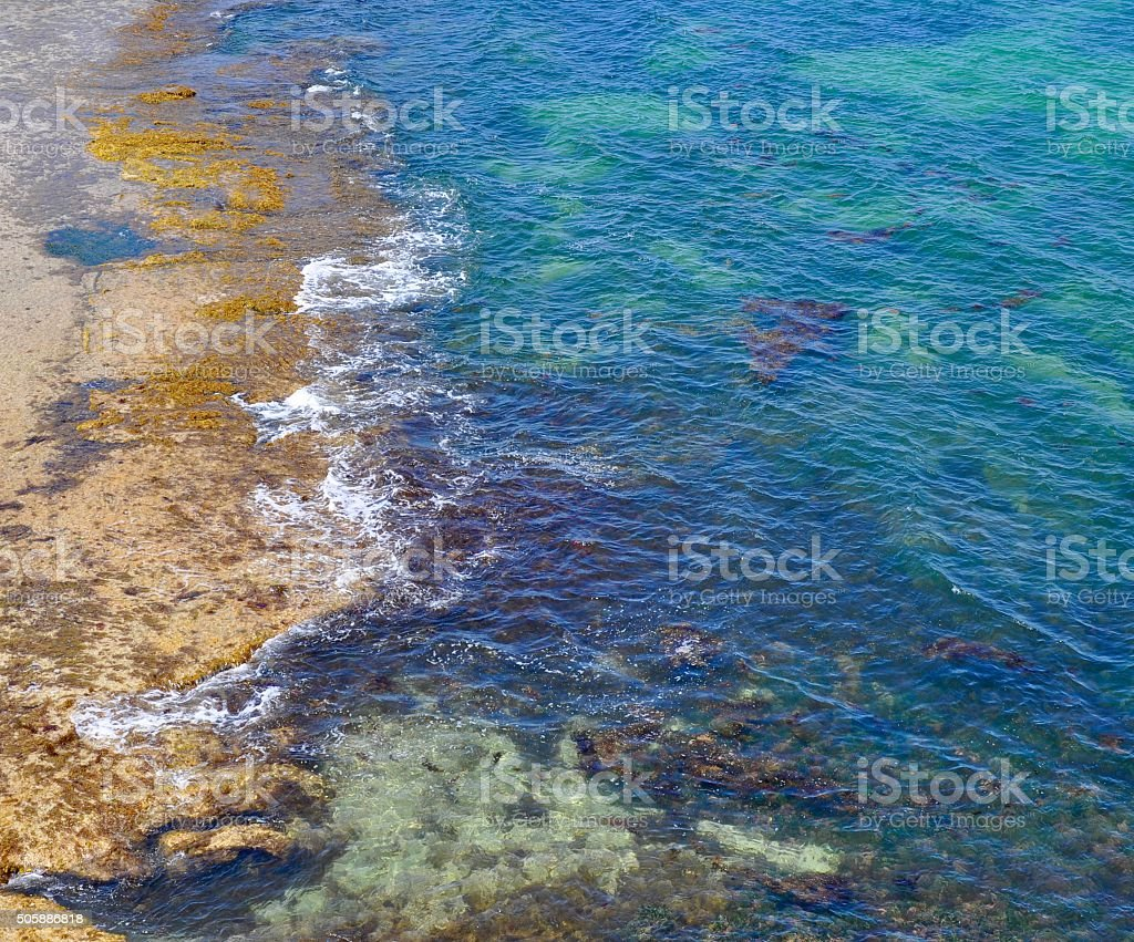 Indian Ocean with Shallow Beach Reef stock photo