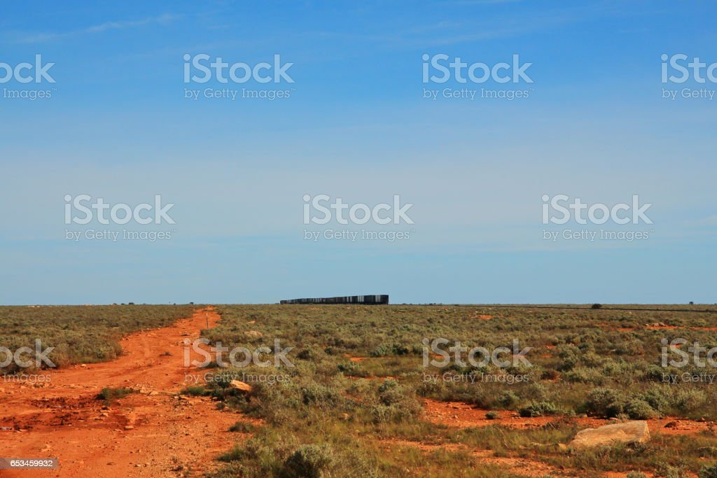 Indian Pacific train across the Nullarbor stock photo