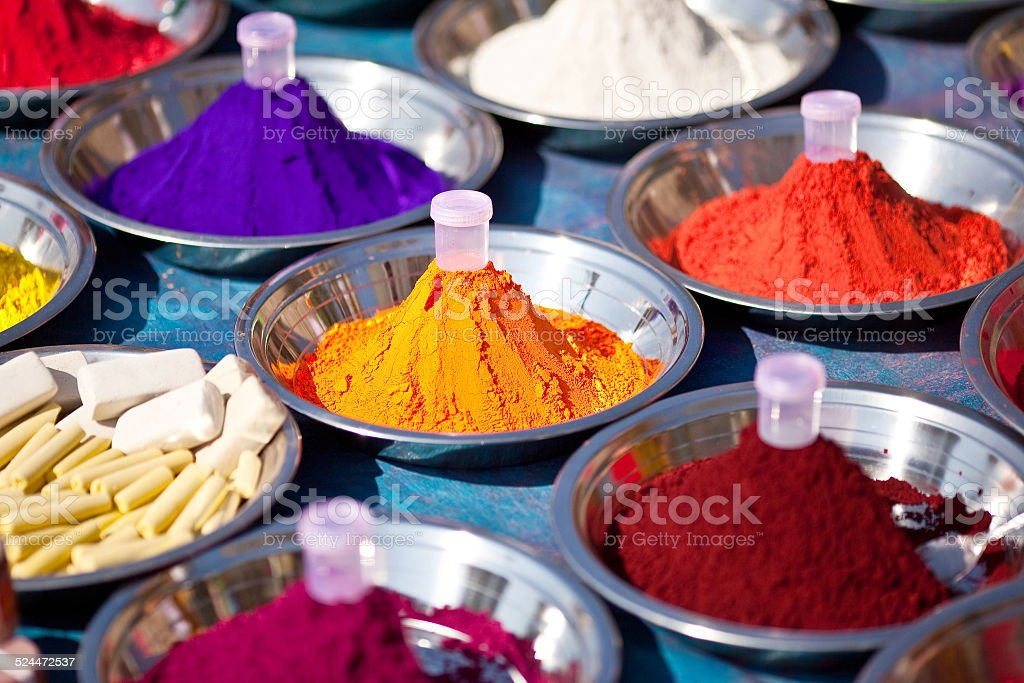 Indian paints for festival and celebration stock photo