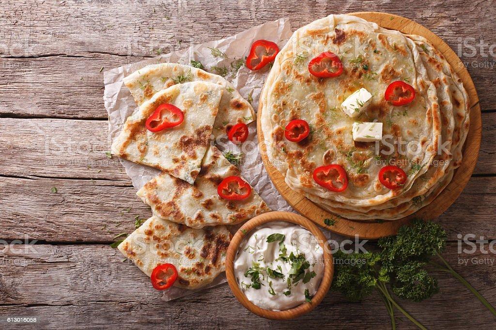 Indian paratha stuffed with potatoes. horizontal top view stock photo