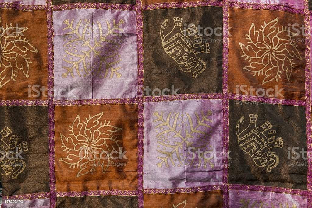 Indian patchwork carpet in Rajasthan royalty-free stock photo