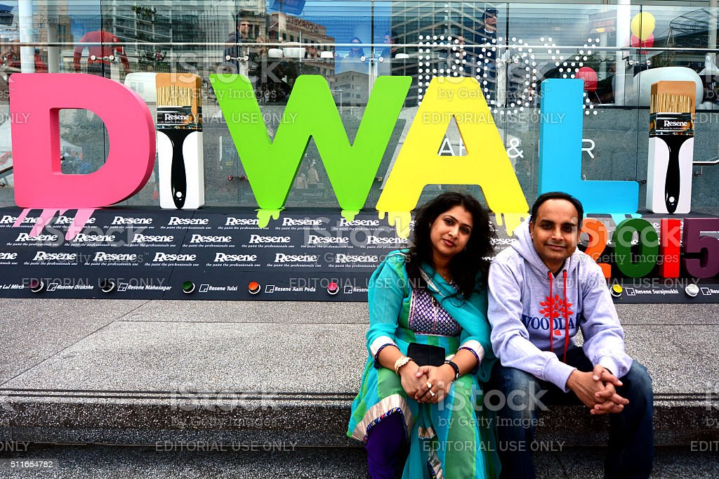 Indian People Celebrating Diwali Festival in Auckland, New Zealand stock photo