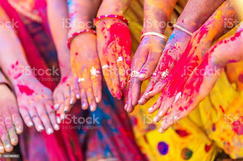 Indian People Celebrating Holi Festival stock photo