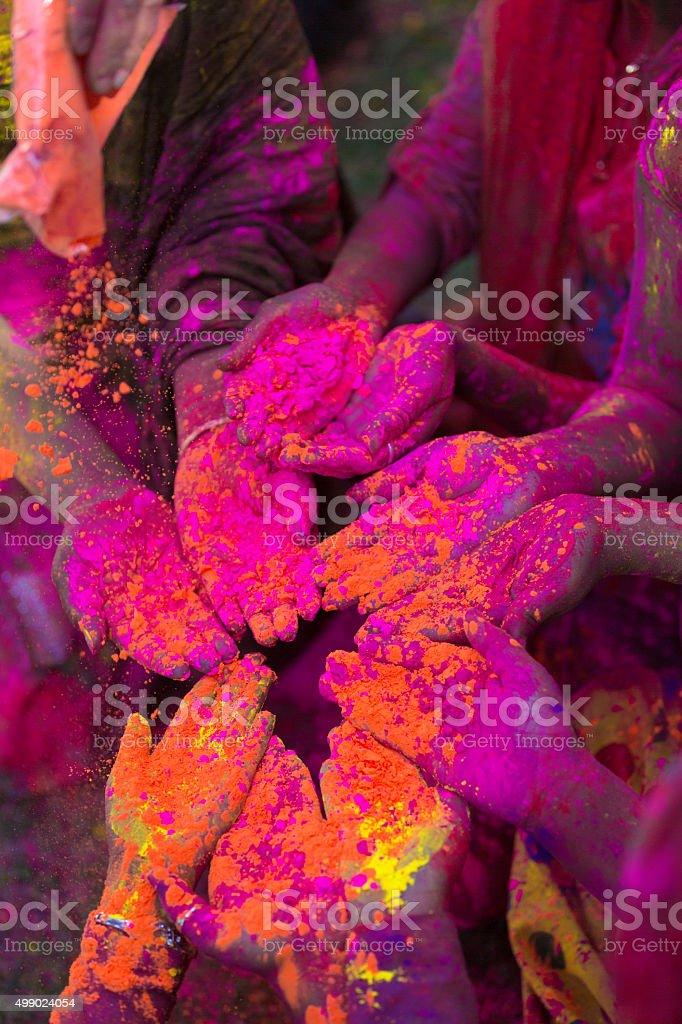 Indian People Celebrating Holi Festival stock photo