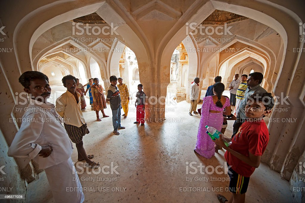 Indian people in the corridor of the The Queen's Bath stock photo