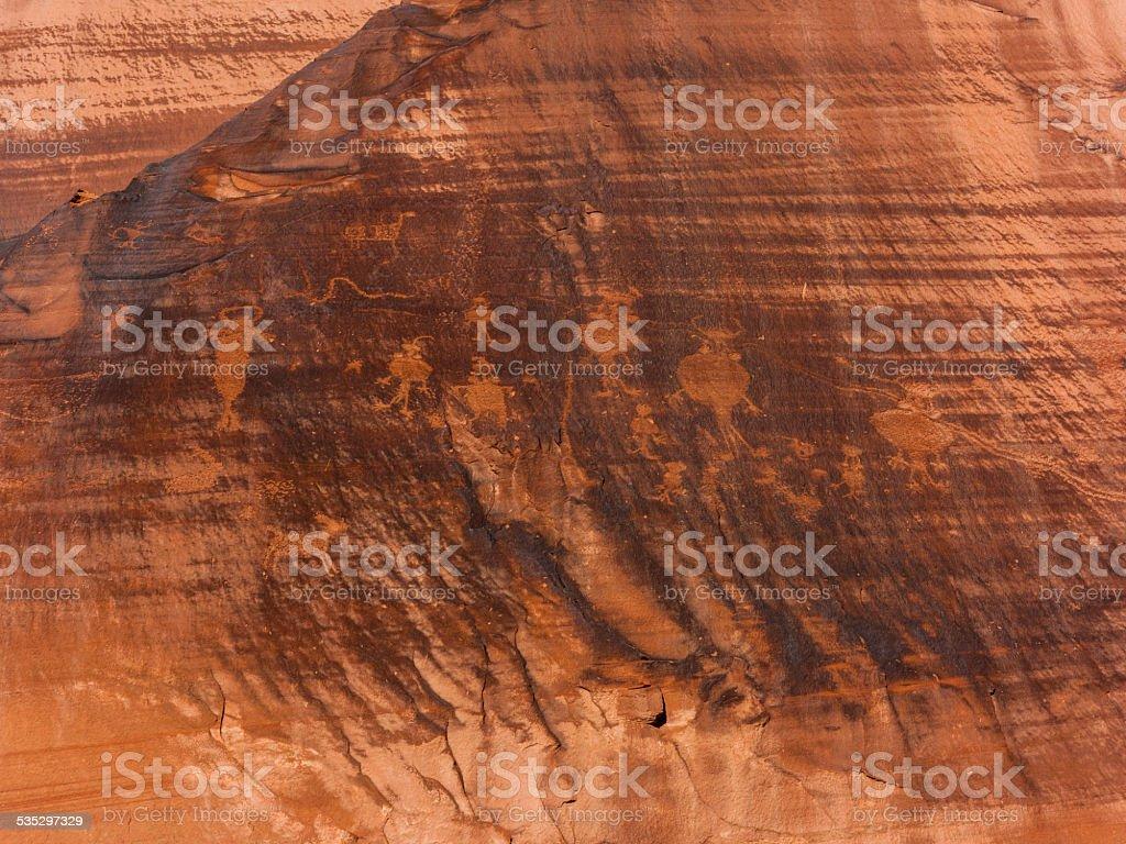 Indian petroglyphs along US Highway 279 near Moab, Utah stock photo