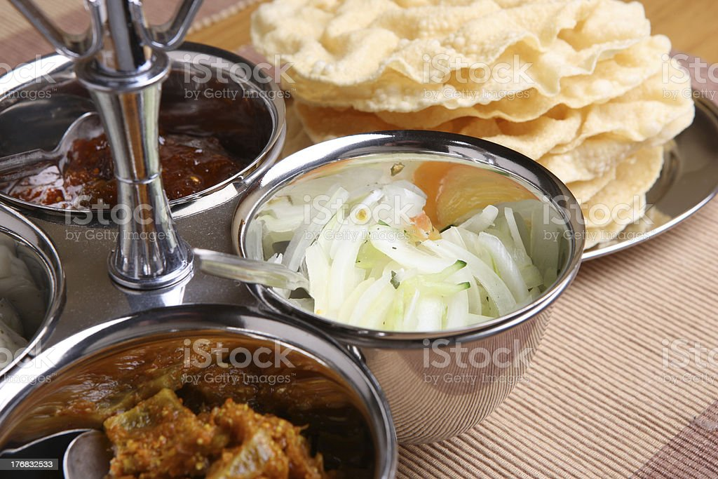 Indian Pickles & Pappadoms stock photo