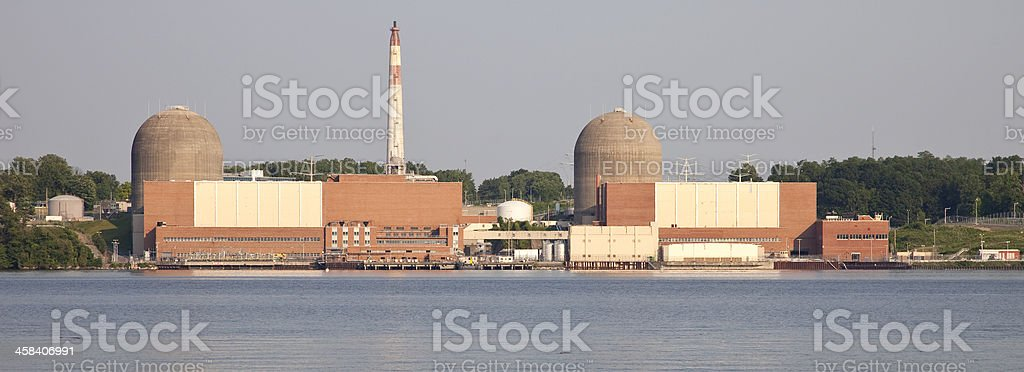 Indian Point Energy Center on the Hudson River royalty-free stock photo