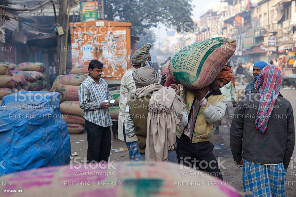 Indian porters in New Delhi, India stock photo
