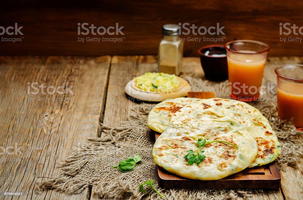 Indian Potato stuffed Flatbread stock photo