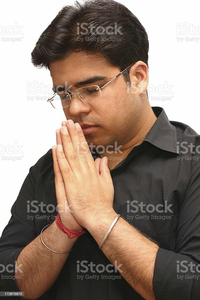 Indian - praying royalty-free stock photo