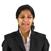 Indian professional woman crying facial expression.