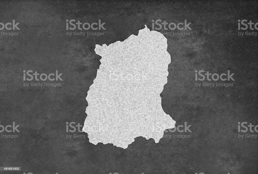 Indian Province Sikkim འབྲས་མོ་ལྗོངས Map Outline on an Blackboard stock photo