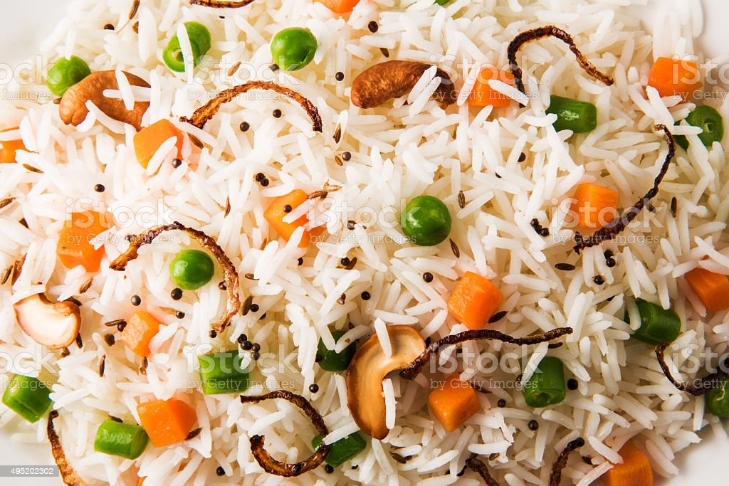 Indian Pulav or vegetables rice or veg biryani stock photo