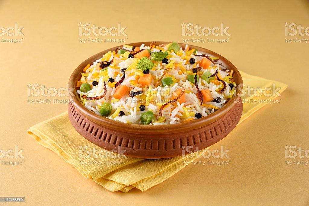 indian pulav, vegetable rice, veg biryani, basmati rice stock photo