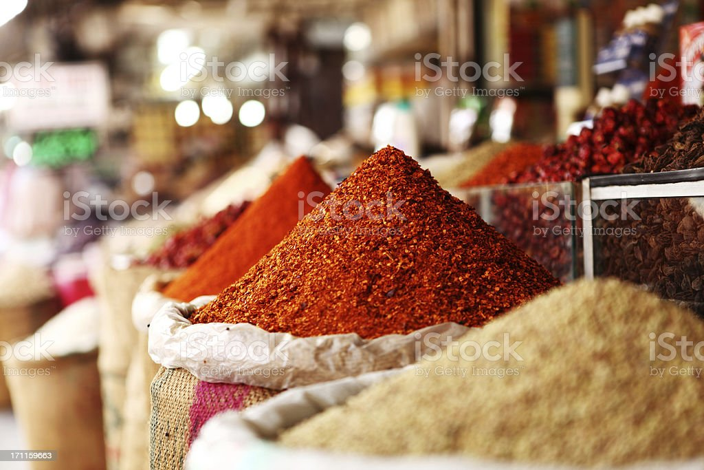 Indian Red Chilli Powder at Spice Shops, Karachi Emprss Market stock photo