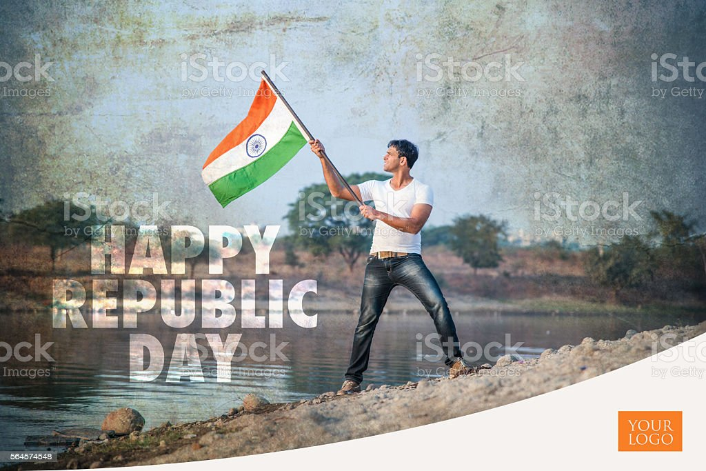 indian republic day greeting card stock photo