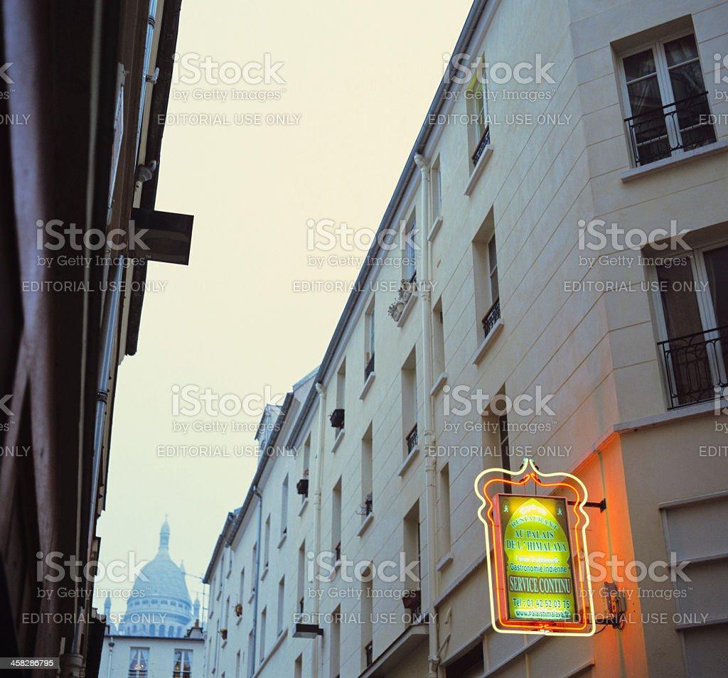 Indian restaurant in Paris near Montmartre stock photo