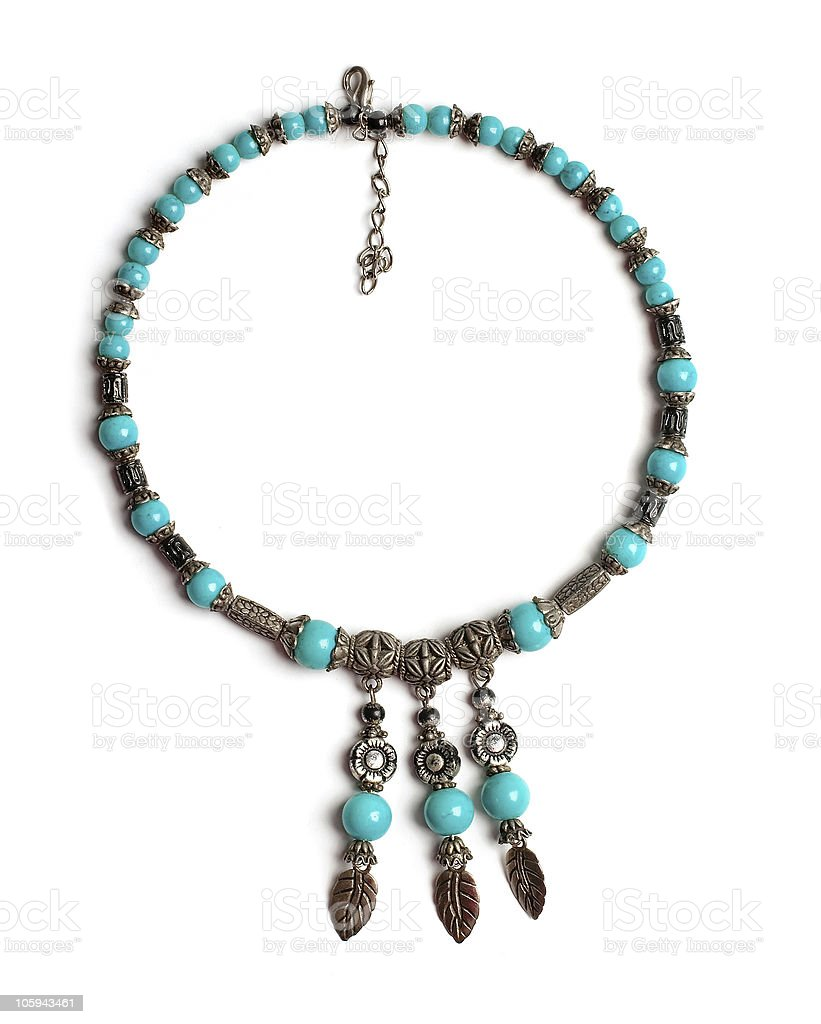 Indian retro necklaces from turquoise isolated royalty-free stock photo