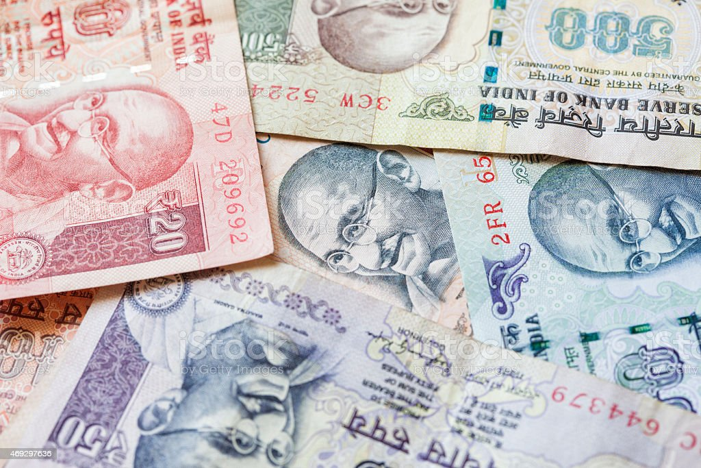 Indian Rupee Background stock photo