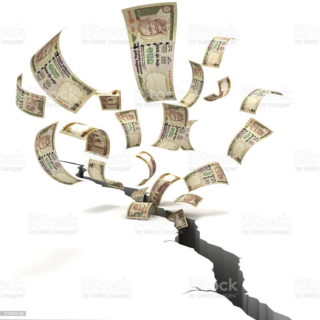 Indian rupee finance crisis concept stock photo