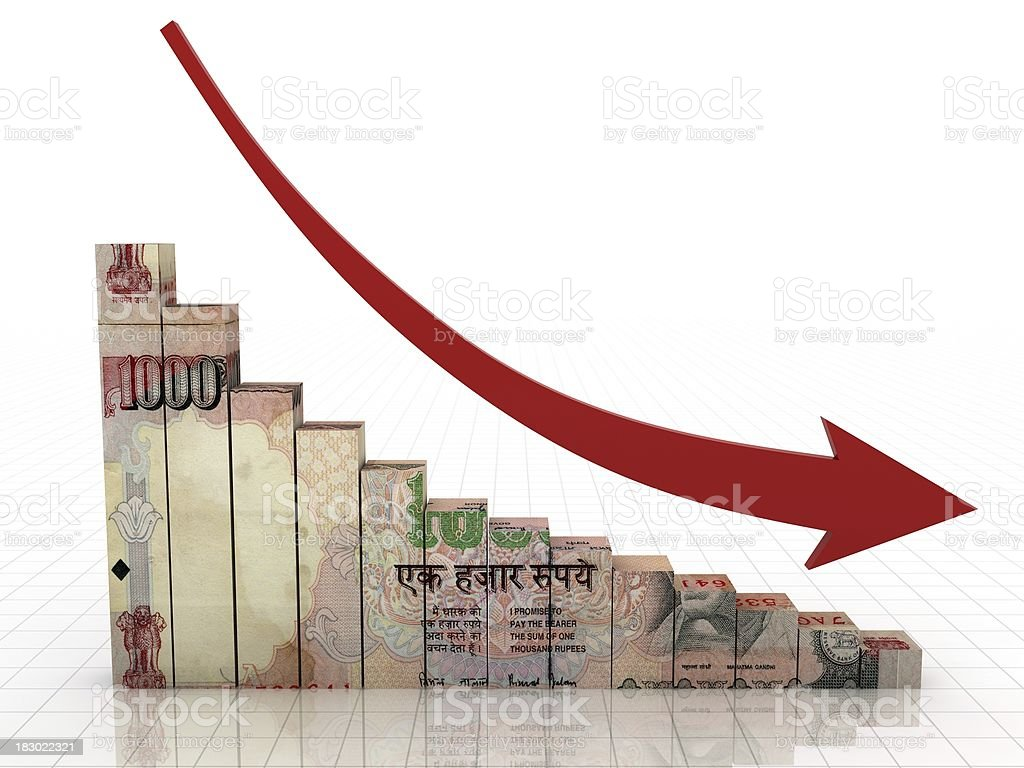 Indian Rupee Graph stock photo