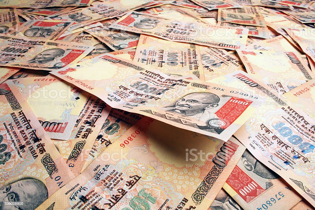 Indian Rupee notes stock photo