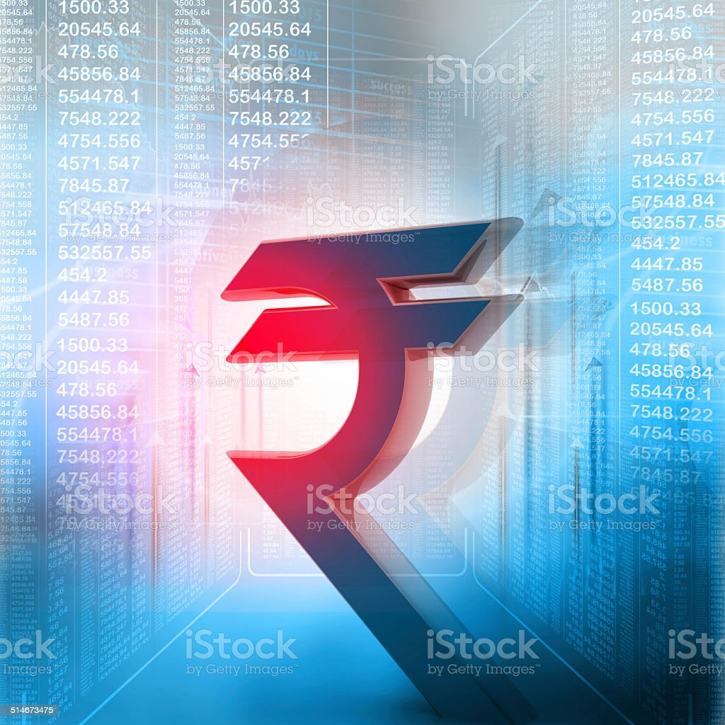 Indian rupee symbol in business background stock photo