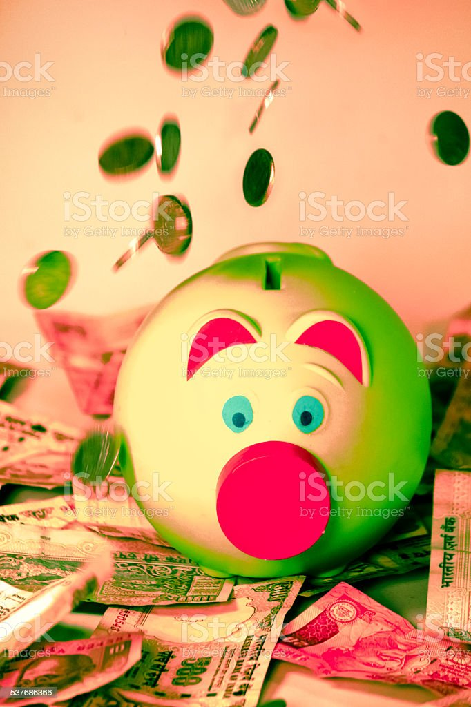 Indian Rupees with a piggy bank, Concept stock photo
