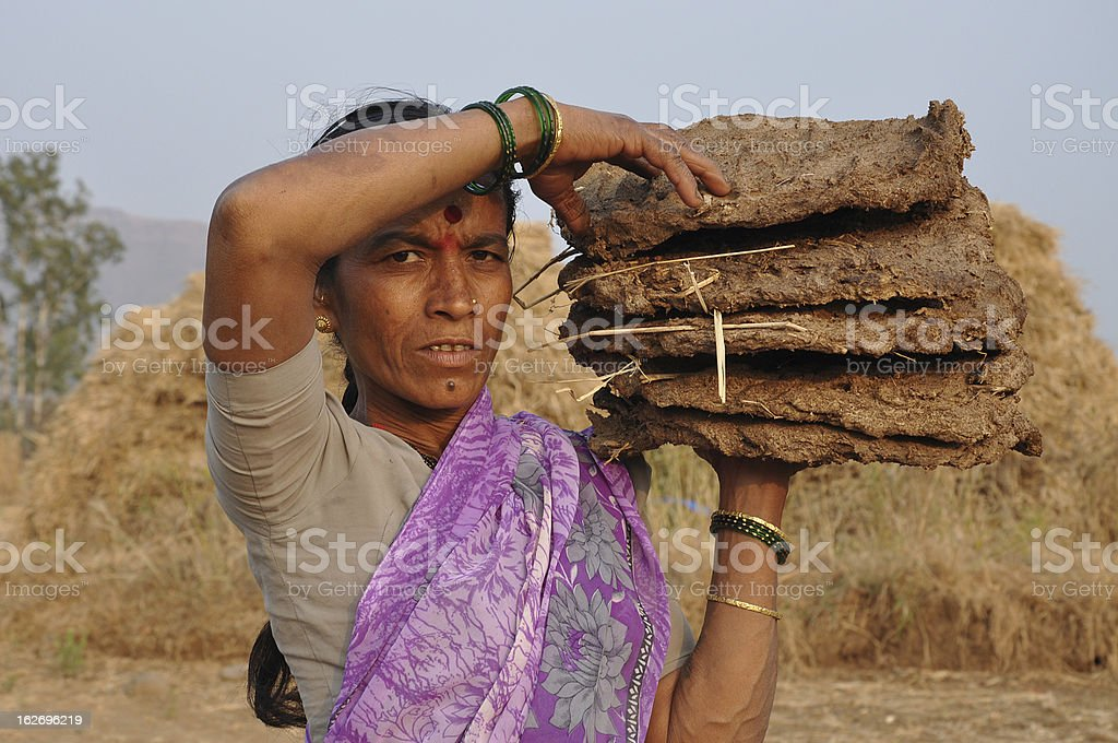 Indian Rural Woman working stock photo